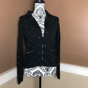 WHBM Med Black Cardigan Sweater Jeweled Polka Dots